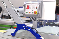 Digital controls. Of industrial saw for cutting wood Stock Image