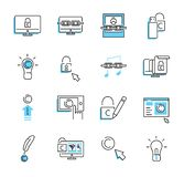 Digital copyright outline icon collection set. Security vector illustration. stock illustration