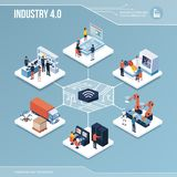 Digital core: industry 4. 0 and automation vector illustration