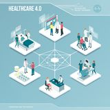 Digital core: online healthcare and medical services. Isometric infographic with people stock illustration