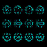 Digital countdown timer with five minutes interval. Royalty Free Stock Photography