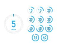 Digital countdown timer with five minutes interval in modern style. Set of 12 timer icons. Vector illustration. Digital countdown timer with five minutes vector illustration