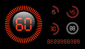 Digital Countdown Timer. Vector Digital Countdown Timer isolated on black background Stock Images