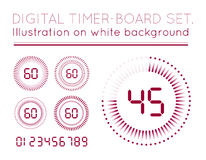Digital Countdown Timer. Vector Digital Countdown Timer set isolated on white background Royalty Free Stock Photos