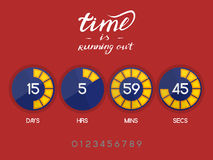 Digital countdown timer. Countdown Timer for the website. Round section. Days, hours, minutes, seconds. Dark blue background. Stock inscription time is running stock illustration