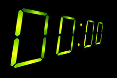 Digital countdown at zero. Black background royalty free stock photography