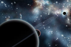 Digital created starfield with cosmic Nebula Stock Photography