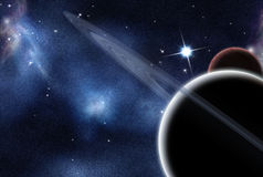 Digital created starfield and planets Royalty Free Stock Images