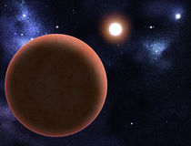 Digital created starfield with red planet Stock Image