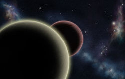 Digital created starfield with two planets Royalty Free Stock Images