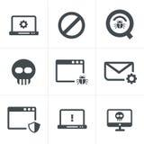 Digital criminal icons set Stock Image