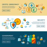 Crypto democracy icons set. Digital  crypto democracy and security icons set infographics Stock Photography