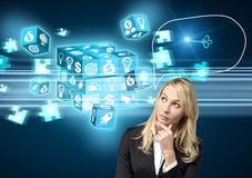 Digital cube puzzle resolve Stock Image