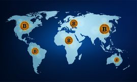 Digital currency bitcoin on the world map. Digital money technology around the world Stock Photos