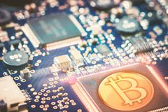 Digital Currency in Computer Networks Stock Photos