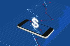 Digital currency and electronic online banking. Mobile smart phone with currency sign and raising graph stock images