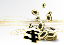 Digital currency financing golden coin saving concept background. Vector design Royalty Free Stock Photography