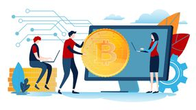 Digital currency. Miniature people with big coin. Business Flat cartoon miniature illustration vector graphic. On white background stock illustration