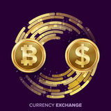 Digital Currency Money Exchange Vector. Bitcoin, Dollar. Fintech Blockchain. Gold Coins With Digital Stream. Cryptography. Conversion Commercial Operation Royalty Free Stock Photo