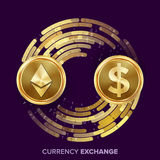 Digital Currency Money Exchange Vector. Ethereum Dollar. Fintech Blockchain. Gold Coins With Digital Stream. Cryptography. Conversion Commercial Operation Royalty Free Stock Images