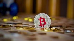 Bitcoin metal coin Stock Photography