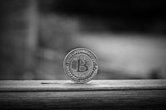 Bitcoin coin outdoor. Digital currency physical metal bitcoin coin. Cryptocurrency outdoor concept Stock Photography