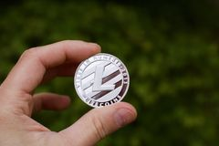 Silver Litecoin coin Stock Photos