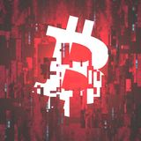 Digital Currency Symbol Bitcoin on Corrupted Pixel Background -. Vector Illustration Stock Images