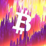 Digital Currency Symbol Bitcoin on Fiber Optic Background - Vect. Or Illustration Stock Photography