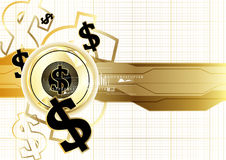 Digital currency worldwide financing golden coin business concep. T background vector design Royalty Free Stock Images