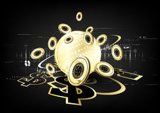 Digital currency worldwide financing golden modern business conc. Ept background vector design Stock Photos
