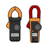 Digital Current Clamp Meter. Electrician power tools. Vector Stock Photography