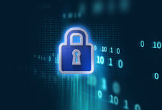 Digital cyber security system concept 3d illustration Royalty Free Stock Image