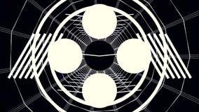 Digital-Cyber-Stadt-Partikel HUD Background mit Linien Muster mit Würfeln und Blitzlicht Retro- Hintergrund des Futurismus-80s Lizenzfreie Stockfotos