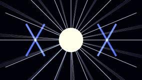 Digital-Cyber-Stadt-Partikel HUD Background mit Linien Muster mit Würfeln und Blitzlicht Retro- Hintergrund des Futurismus-80s Stockbild
