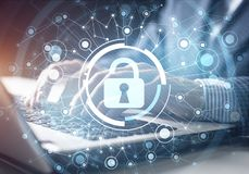 Digital cybersecurity and network protection royalty free stock images