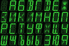 Digital Cyrillic font from capital letters on green alphanumeric LED display Royalty Free Stock Photography