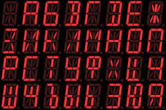 Digital Cyrillic font from capital letters on red alphanumeric LED display Royalty Free Stock Photos