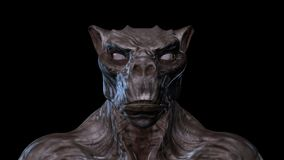 3D Animation of a morphing Creature Face stock video