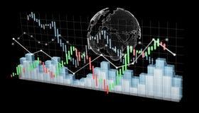 Digital 3D framförde börsstatistik och diagram Arkivfoto