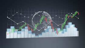 Digital 3D framförde börsstatistik och diagram Arkivbilder