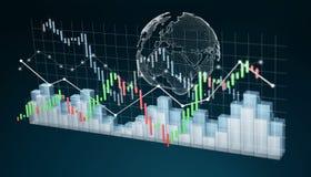Digital 3D framförde börsstatistik och diagram Arkivfoton