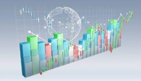 Digital 3D framförde börsstatistik och diagram Royaltyfri Bild