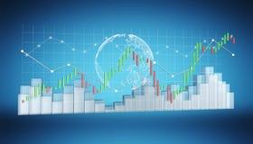 Digital 3D framförde börsstatistik och diagram Royaltyfria Foton