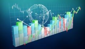 Digital 3D framförde börsstatistik och diagram Royaltyfri Foto