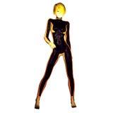 Digital 3D illustration av en sciencekvinnlig royaltyfri illustrationer