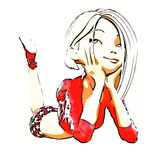 Digital 3D illustration av en Toon Girl Royaltyfri Fotografi