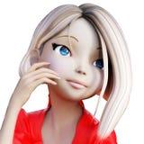 Digital 3D illustration av en Toon Girl Royaltyfri Foto