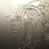 Digital Illustration of a Female Cyborg Relief Royalty Free Stock Images
