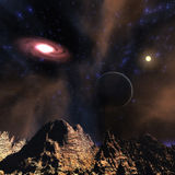 Digital 3D Illustration of a Space Scene Royalty Free Stock Images